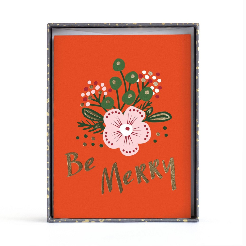 Image of 10ct Minted Foil Red Be Merry Boxed Greeting Cards