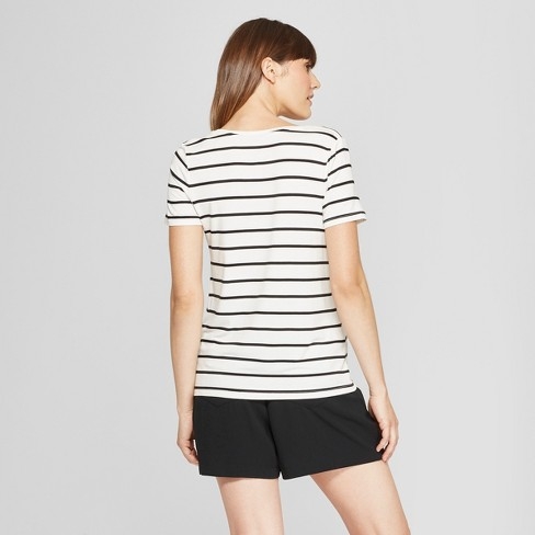 6b2a27a3553 Women's Any Day Striped Short Sleeve Scoop T-Shirt - A New Day™ White/Black  : Target