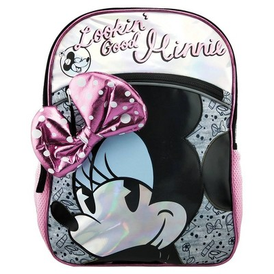 "Minnie Mouse Bow 16"" Kids' Backpack - Silver Gray"