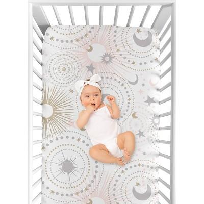 Sweet Jojo Designs Fitted Crib Sheet - Celestial - Pink/Gold