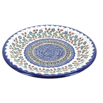Blue Rose Polish Pottery Strawberry Garden Dinner Plate