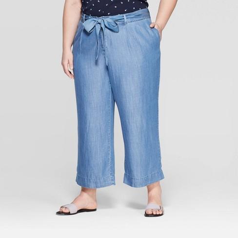 1f4660dce9270 Women s Plus Size Tie Waist Pants - Ava   Viv™ Medium Blue 3X   Target