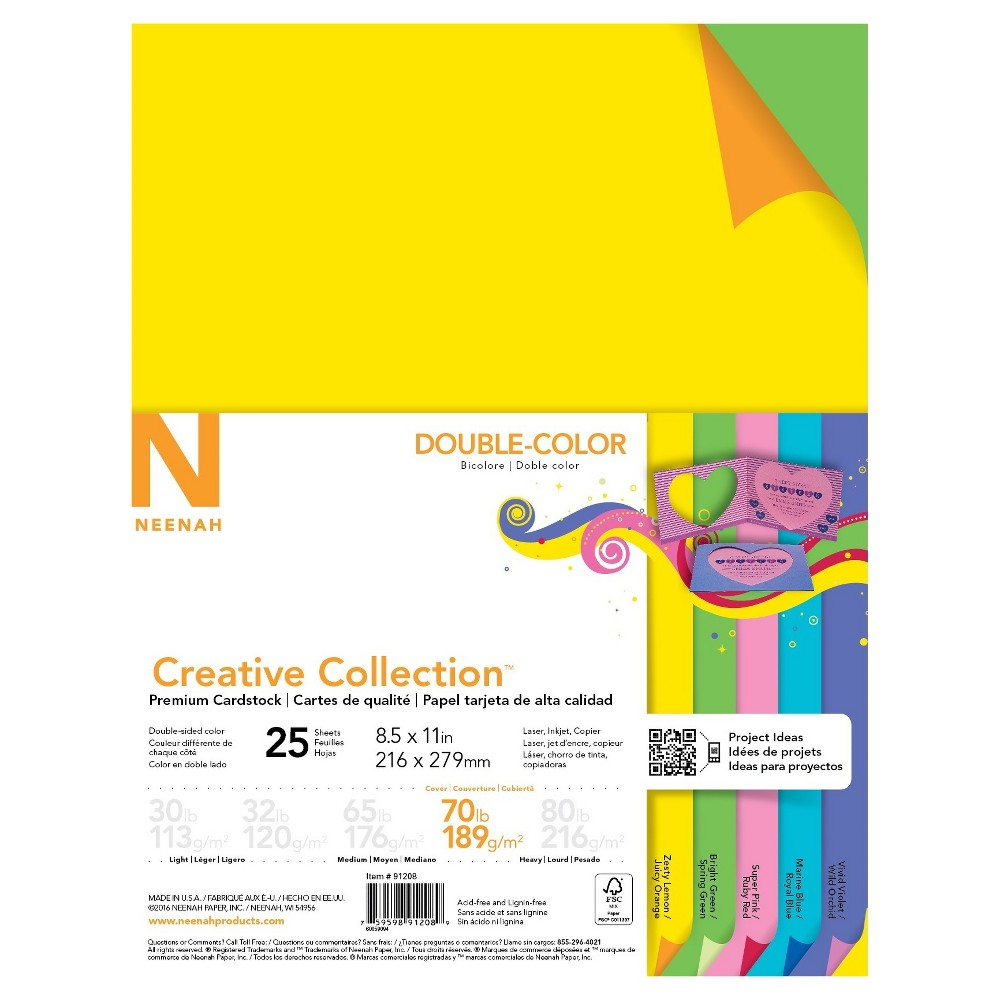 "Image of ""Neenah Creative Collection Specialty Cardstock, 8.5"""" x 11"""", 70lb, Double-Color Assortment, 25 Sheets"""