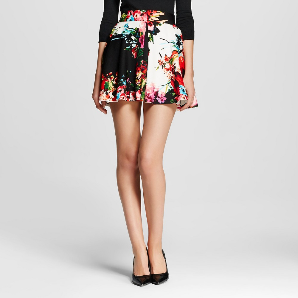 Women's Printed Scuba Flare Mini Skirt Pink/Red S - Necessary Objects