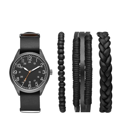 Men's Easy Read Field Strap Watch Set - Goodfellow & Co™ Gunmetal