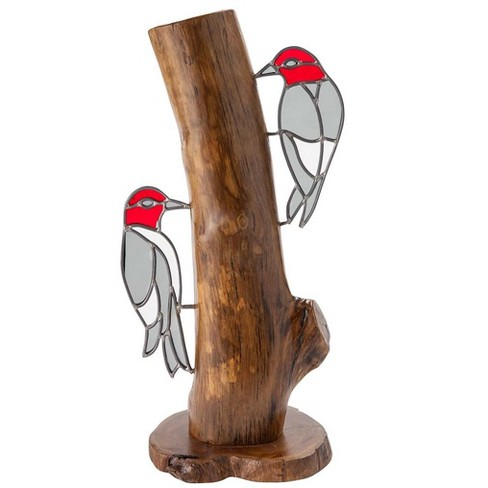 Stained Glass Woodpeckers On Stump - Wind & Weather - image 1 of 2