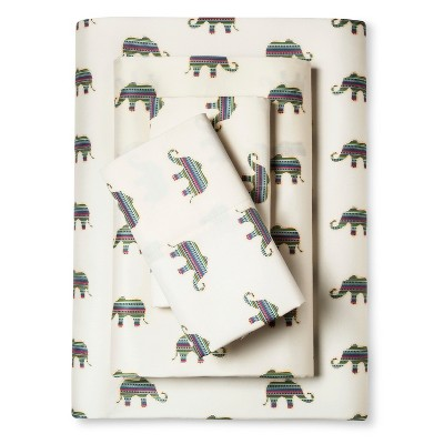 Whimsical Elephant Print Sheet Set (Queen)Ivory - Elite Home