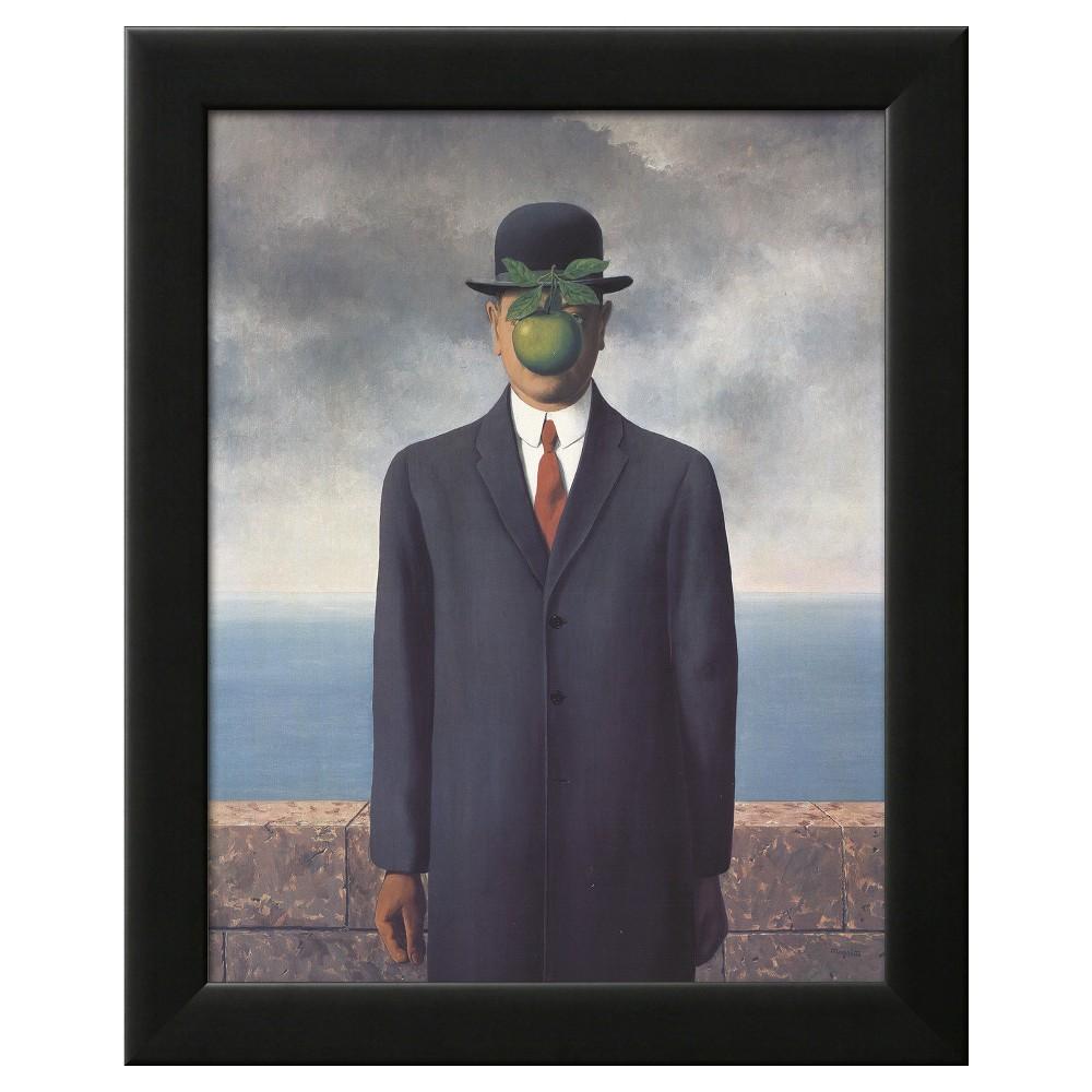 Son of Man (Small) Black Wood Framed Art Print, Blue