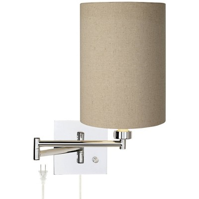 Possini Euro Design Modern Swing Arm Wall Lamp Chrome Plug-In Light Fixture Tan Cotton Blend Cylinder Shade for Bedroom Bedside