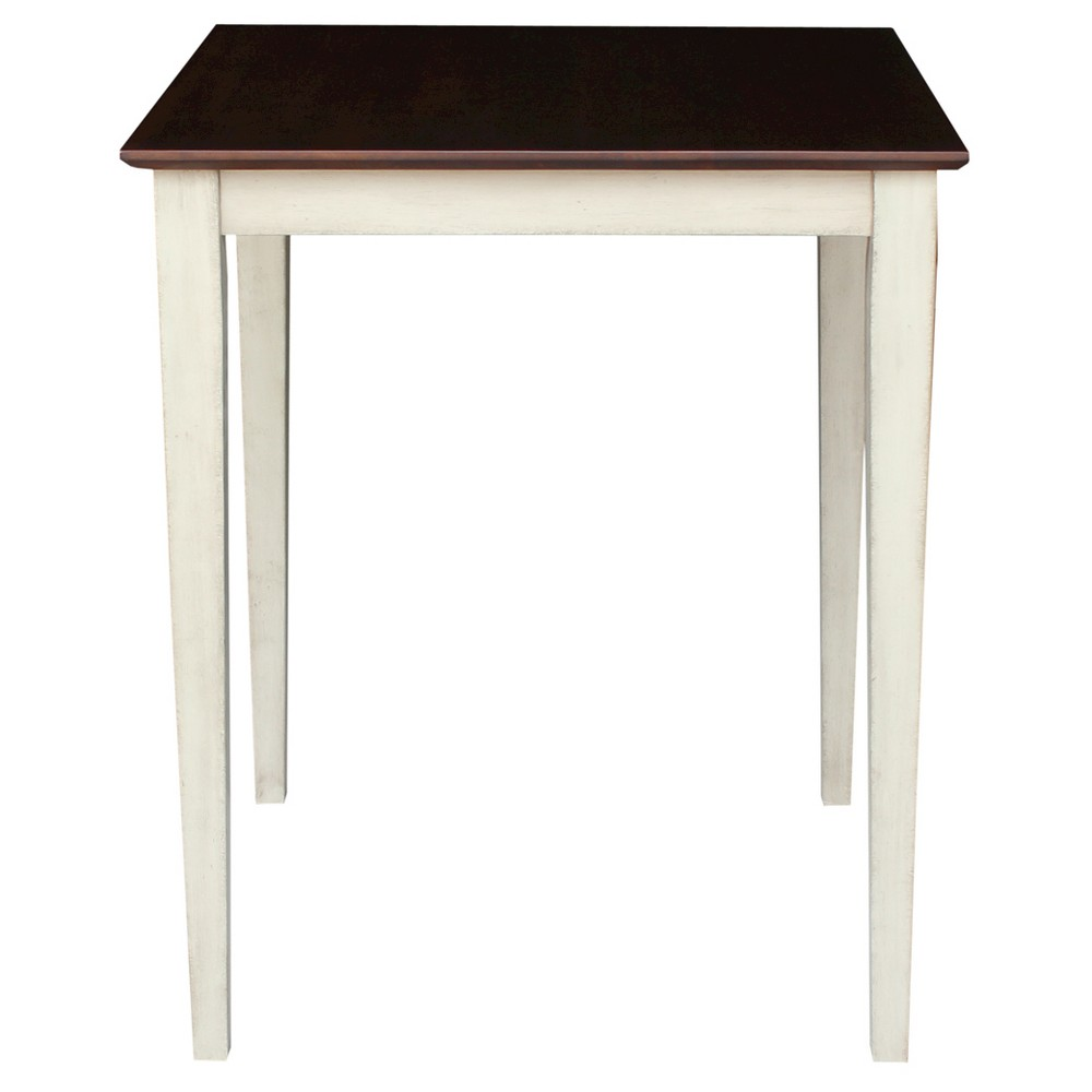Solid Wood Top Table Shaker Legs Wood/Antiqued Almond & Espresso - International Concepts, Brown