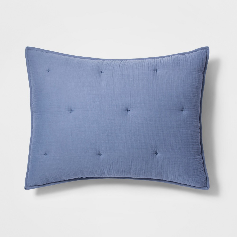 King Tufted Gauze Sham Blue - Threshold was $24.99 now $12.49 (50.0% off)