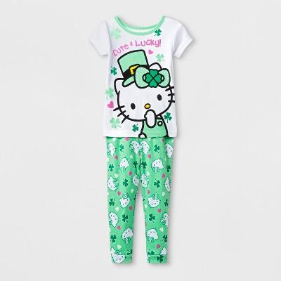 Toddler Girls' Hello Kitty 2pc Pajama Set - White 2T