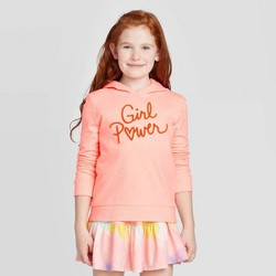 Girls' Embroidered 'Girl Power' Pullover Sweatshirt - Cat & Jack™ Bright Peach