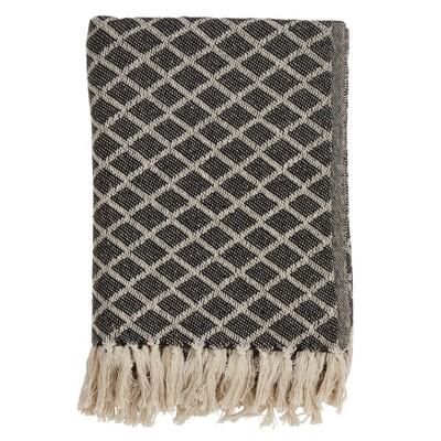 50 x60  Diamond Tassel Throw Blanket Black - Saro Lifestyle