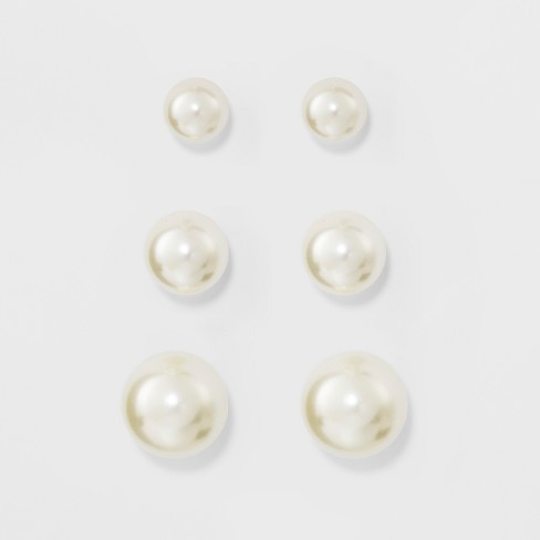 Faux Pearl Stud Earring Set 3ct - A New Day™ Silver - image 1 of 2