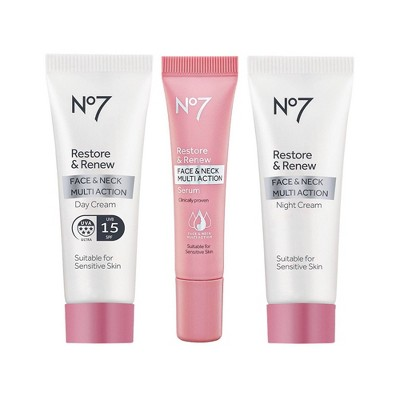 No7 Restore & Renew Face & Neck Multi Action Travel Set - 3ct