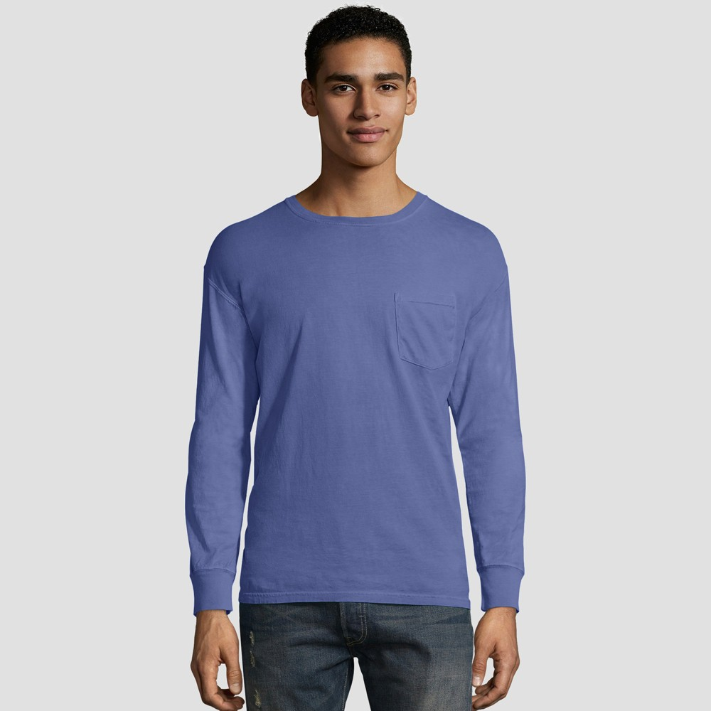 0eb60a17 Hanes Mens Long Sleeve 1901 Garment Dyed Pocket T Shirt Deep Blue M