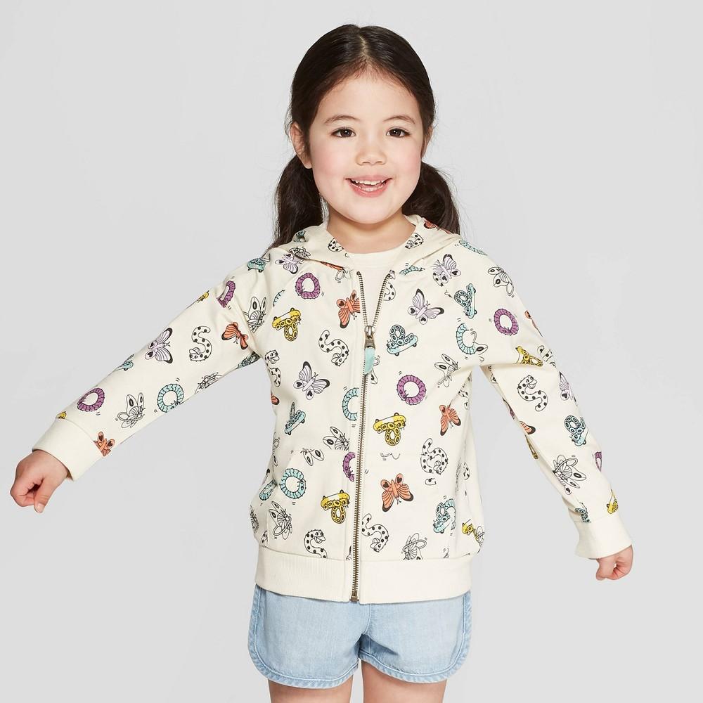 Toddler Girls' Hooded All Over Print Sweatshirt - Cat & Jack Cream 5T, White