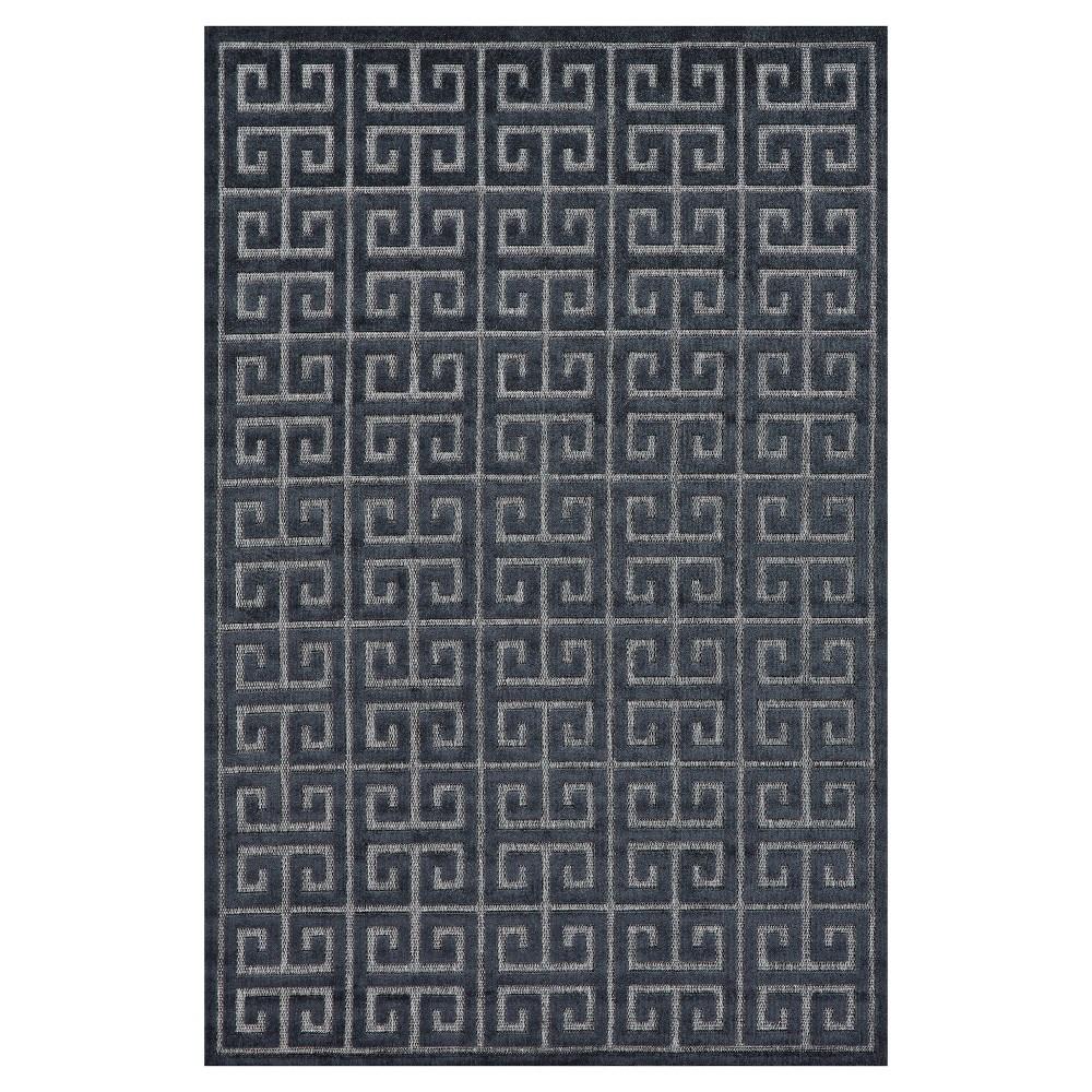 7'6 Round Quatrefoil Design Loomed Round Area Rugs Black/Charcoal (Black/Grey) - Room Envy