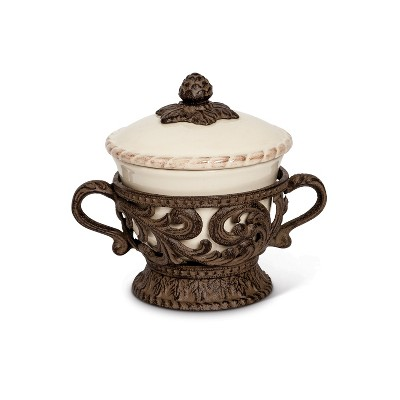 GG Collection Cream Ceramic Bowl and Lid with Detailed Ornate Acanthus Leaf Motif Base