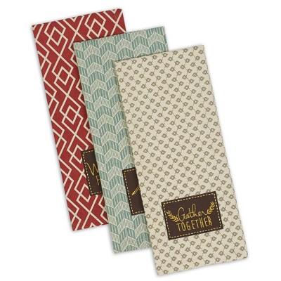 3pk Assorted Rustic Fall Embellished Dishtowels - Design Imports