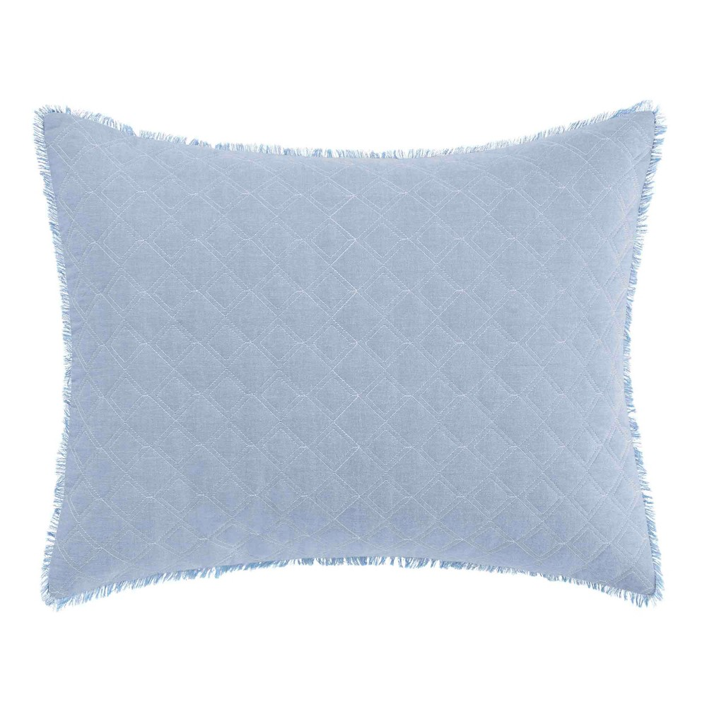 Image of 16x20 Mila Quilted Chambray Throw Pillow Blue - Laura Ashley