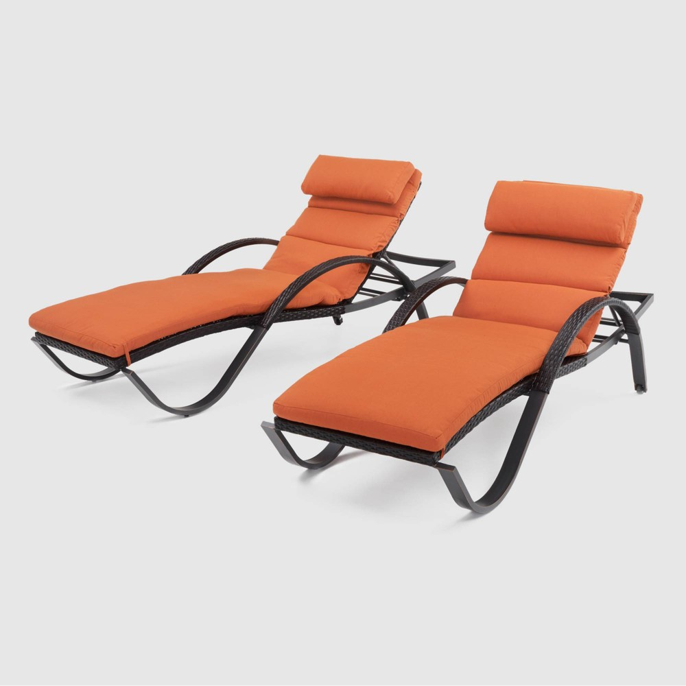 Deco 2pk Chaise Lounges with Cushions - Orange - Rst Brands