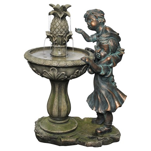 "Alpine Corporation 27"" Boy and Girl with Pineapple Fountain - Multi Color - image 1 of 2"