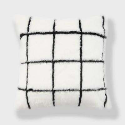"18""x18"" Windowpane Check Faux Fur Throw Pillow White Multi - Freshmint : Target"