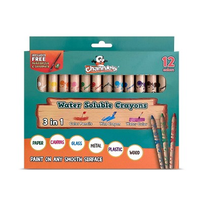 12ct 3-in-1 Water Soluble Crayons with Paint Brush and Sharpener - Channie's