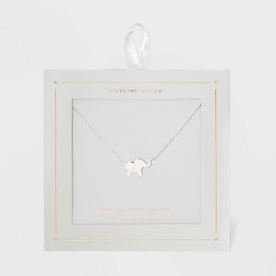 Sterling Silver Elephant Necklace - Silver