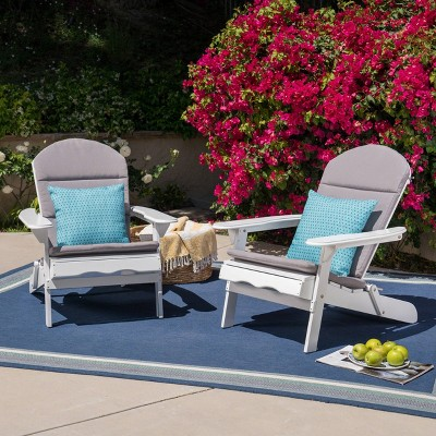 Malibu 2pk Acacia Wood Adirondack Chairs - White/Gray - Christopher Knight Home