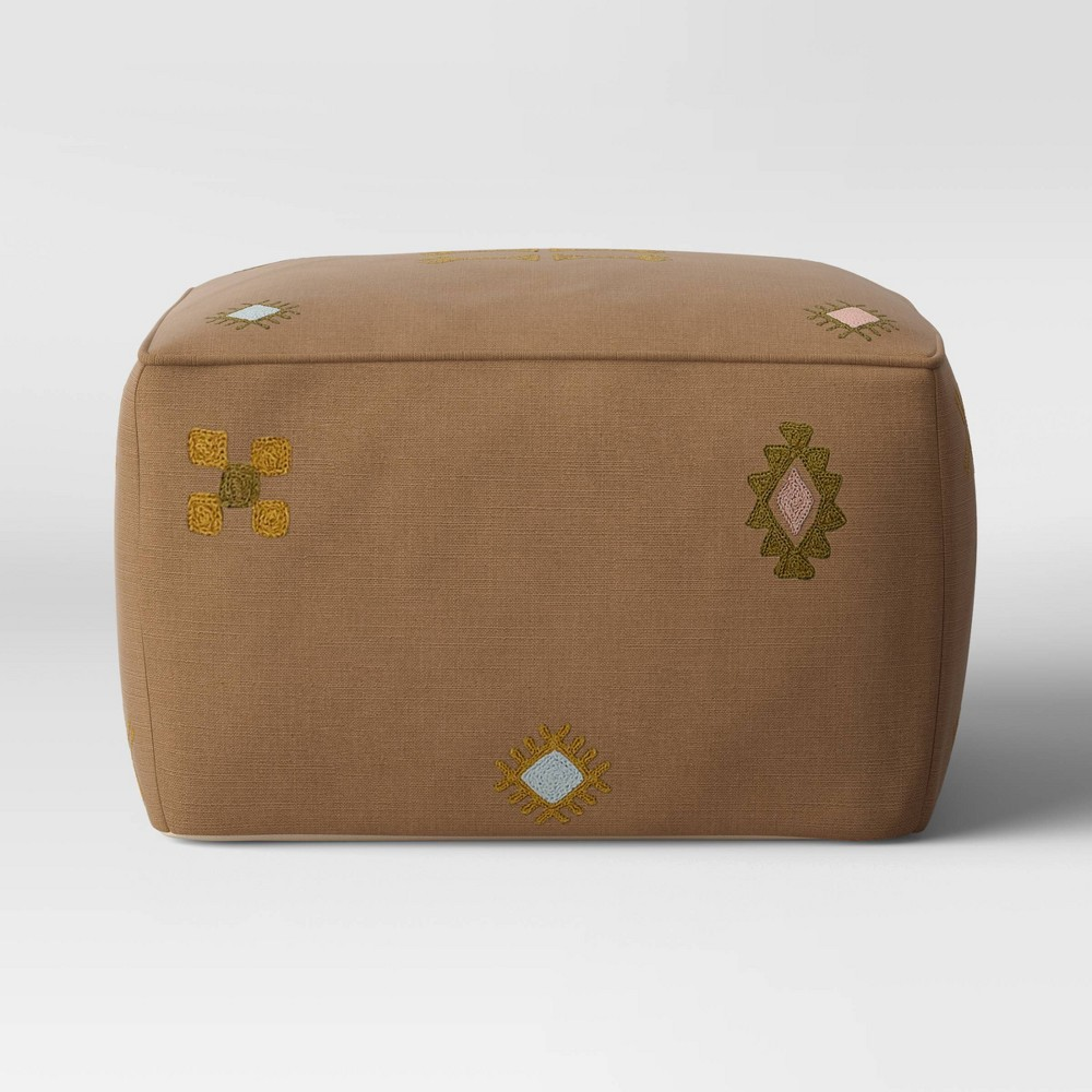 Palmeri Cactus Silk Embroidered Moroccan Inspired Pouf Beige Opalhouse 8482