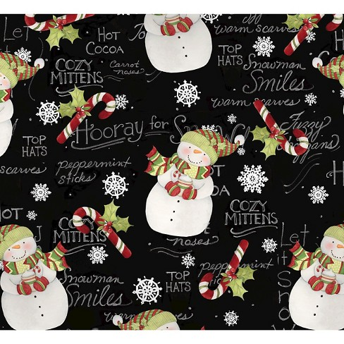 "Hooray For Snow Snowmen, Black, 100% Cotton, 43/44"" Width, Fabric by the Yard - image 1 of 1"