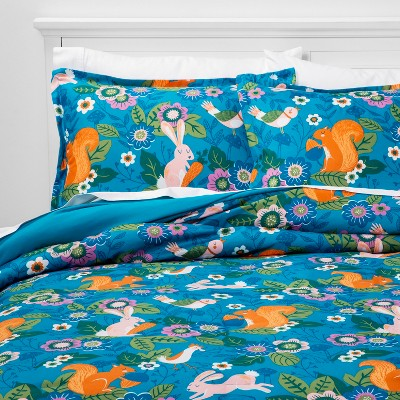 3pc Full/Queen Friendly Fauna Microfiber Comforter Set Turquoise - Pillowfort™