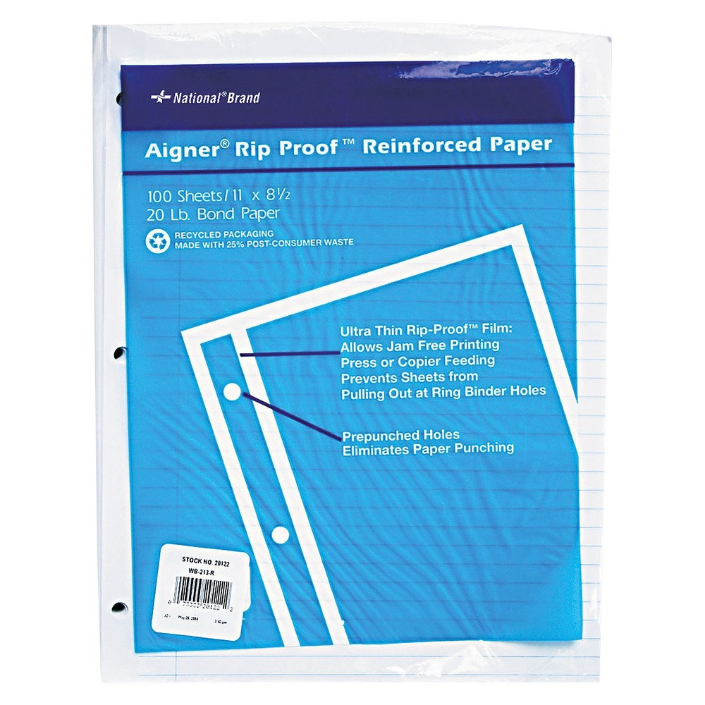 National Brand 11 x 8-1/2 Rip Proof 20-lb.College Ruled Reinforced Filler Paper- WE (100 Sheets per, White