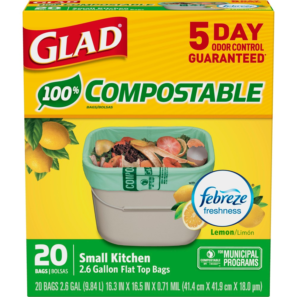 Glad Kitchen Compostable Green Trash Bags Febreze Fresh Lemon 2 6 Gallon 20ct