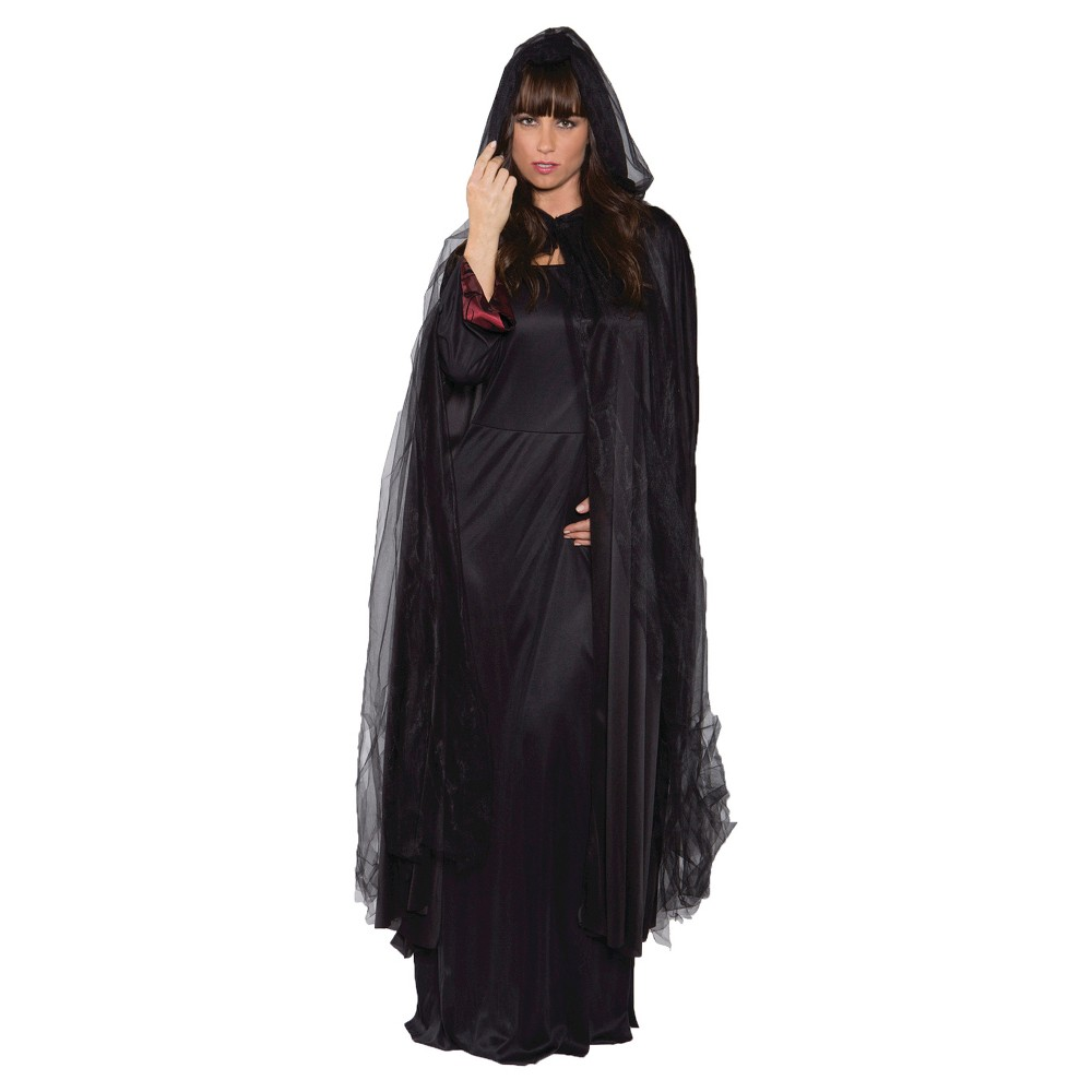 Adult Ghost Cape Black, Women's