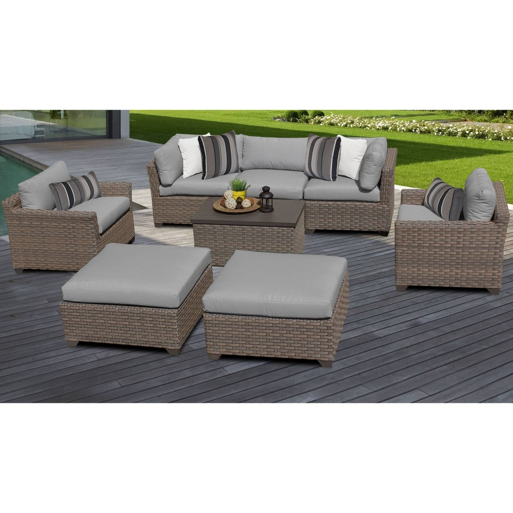 Monterey 8pc Outdoor Wicker Sectional Sofa Seating Group With Cushions Gray Tk Classics
