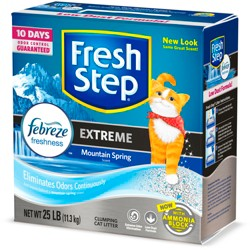 Fresh Step - Extreme Scented Litter with the Power of Febreze - Clumping Cat Litter - Mountain Spring - 25lbs