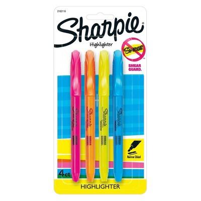 Sharpie 4pk Highlighters Pocket Style Chisel Tip Multicolor