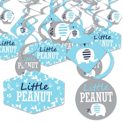 Big Dot of Happiness Blue Elephant - Boy Baby Shower or Birthday Party Hanging Decor - Party Decoration Swirls - Set of 40