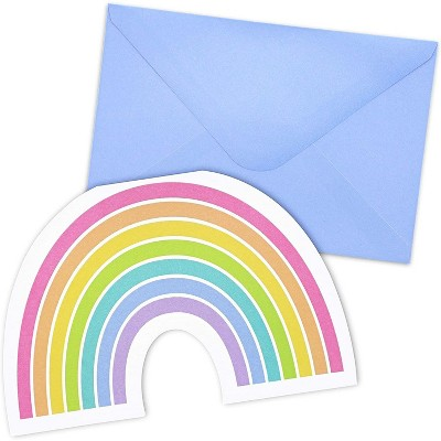 Paper Junkie 36-Pack Die-Cut Rainbow Cards with Envelopes for Kids Party Invitation, Thank You Notes 4x6 in