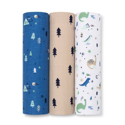Muslin Swaddle Blanket Dinos Cool 3pk - Cloud Island™ Green/Blue