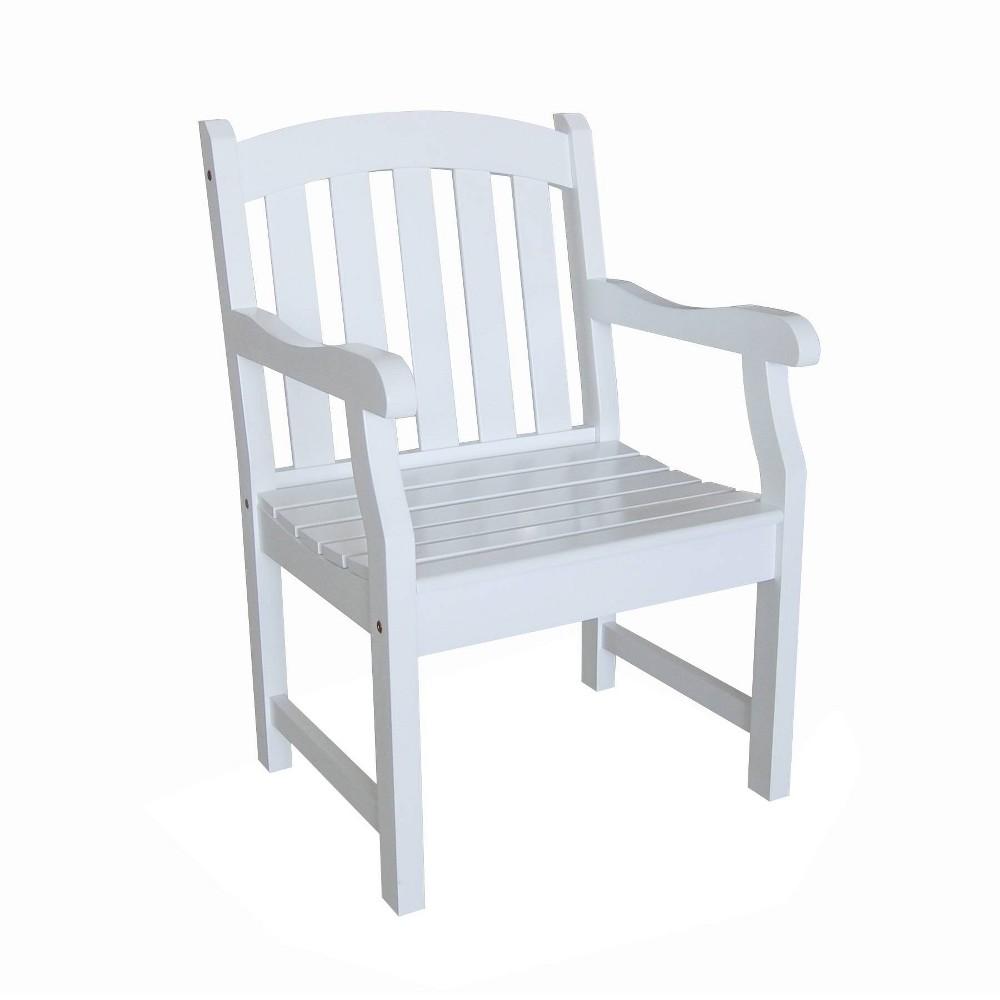 Vifah Bradley Outdoor Wood Arm Chair White