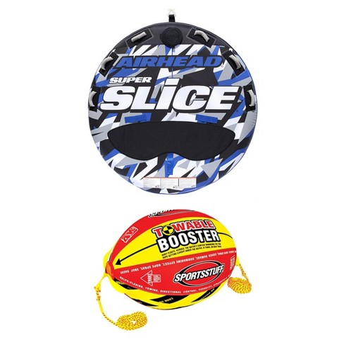 Airhead Super Slice Inflatable Triple Rider Towable Tube w/ Buoy Booster Ball - image 1 of 4