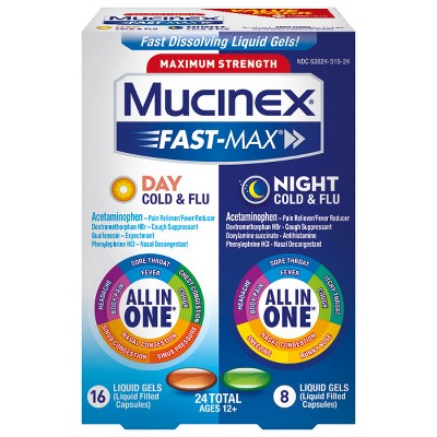 Cold & Flu: Mucinex Fast-Max Cold & Flu Day + Night Liquid Gels