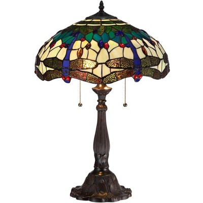 Robert Louis Tiffany Traditional Table Lamp Bronze Tree Motif Dragonfly Art Glass Shade for Living Room Family Bedroom Bedside
