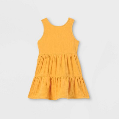 Toddler Girls' Tiered Tank Dress - Cat & Jack™ Yellow 4T