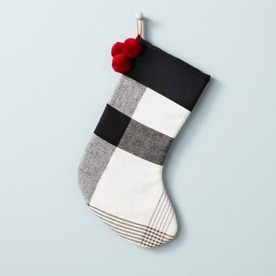 Block Plaid Poms Stocking Black/White - Hearth & Hand™ with Magnolia